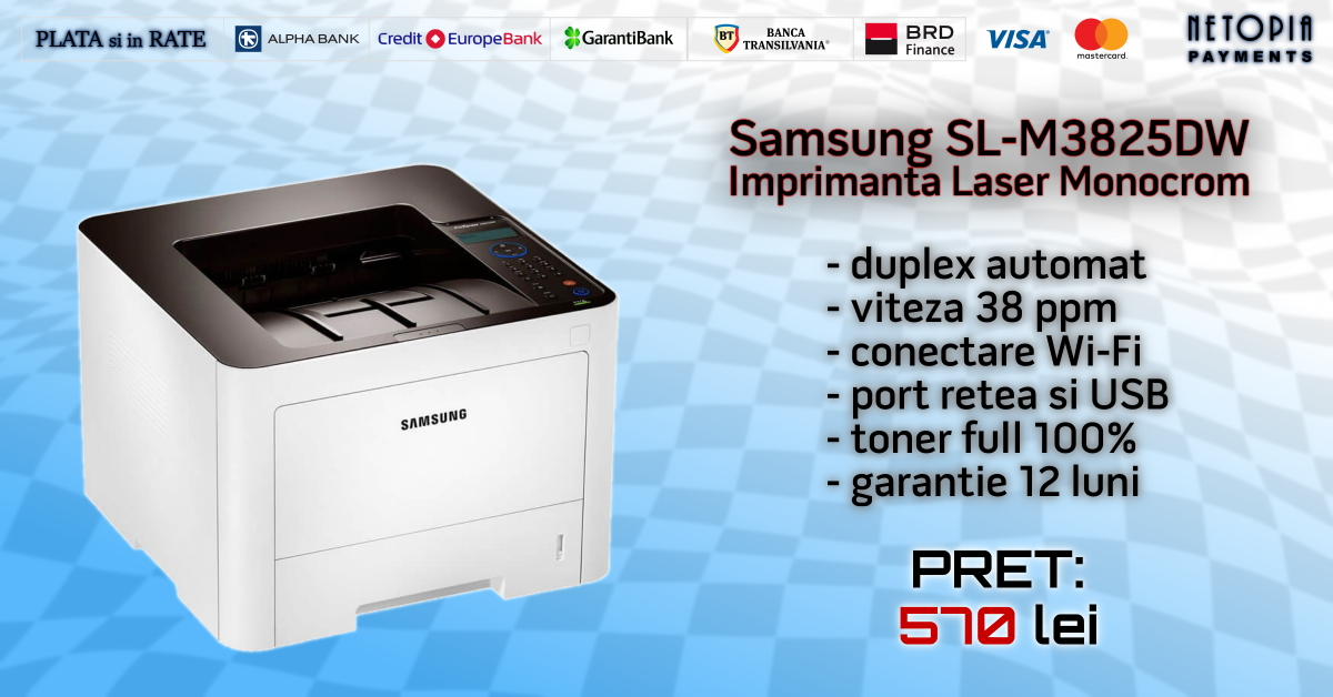 Imprimante Refurbished Laser Samsung SL-M3825DW, Wireless, Toner Full