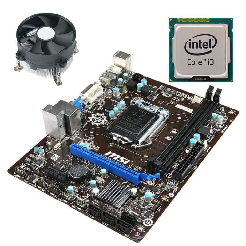 Kit Placa de Baza Refurbished MSI H81M-P33, Intel Core i3-4130, Cooler