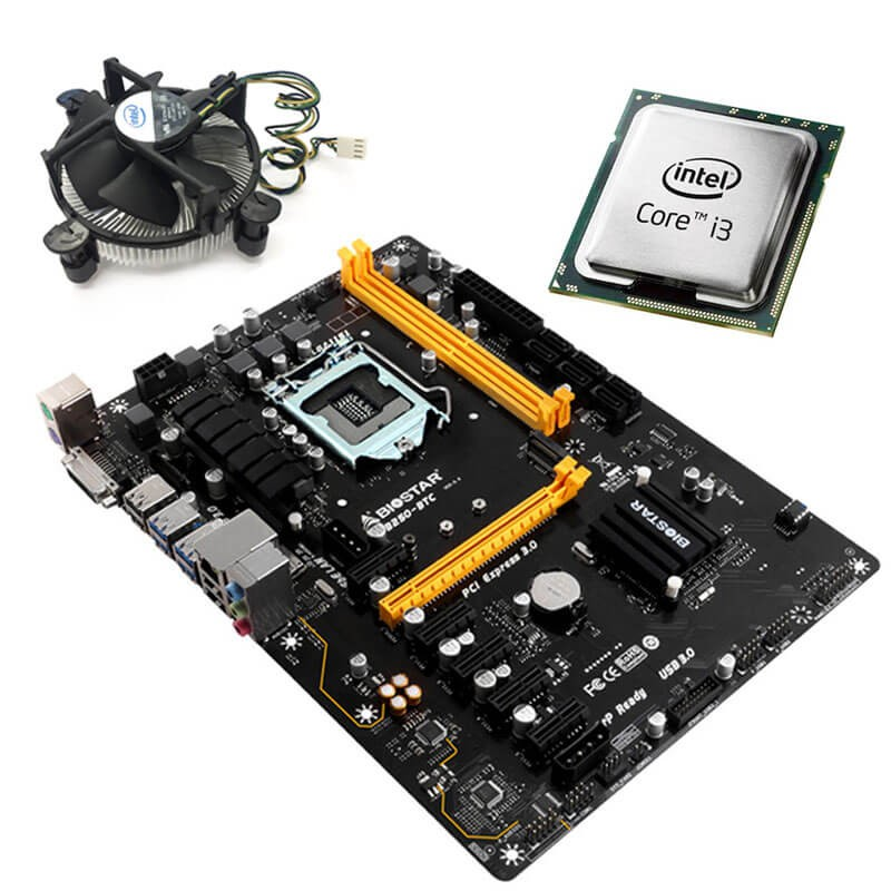 Kit Placa de Baza Refurbished Biostar TB250-BTC, Dual Core i3-6100, Cooler